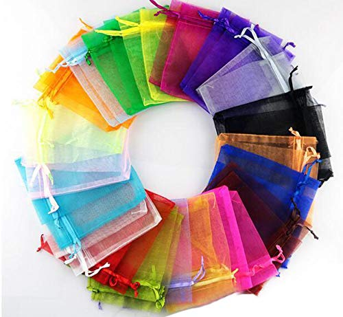 48 pcs Organza Bags in 3x4' -Mix Color Satin Drawstring Organza Pouch Wedding Party Favor Gift Bag Jewelry Watch Bags
