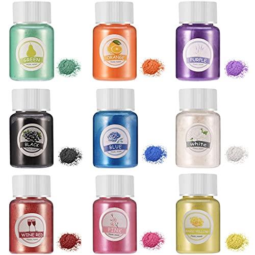 Set di colori per sapone,Mica Polvere,Pigmenti per Resina Epossidica,colorante in resina epossidica,Coloranti Polvere Glitterata,Naturale Pigmenti Coloranti (9 PCS)