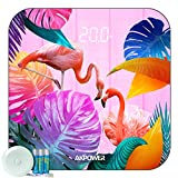 AKPOWER Flamingo Pattern Digital Body Weight Bathroom Scale with Step-On Technology, Round Corner Design, LED Display, Body Tape Measure and Batteries Included