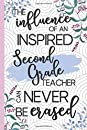 The Influence Of An Inspired Second Grade Teacher Can Never Be Erased: Retirement & Appreciation Gifts for Second Grade Teachers Who Have Made a Big Impact on People's Lives. Floral Lined Notebook
