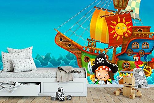 Fotomural Vinilo Pared Barco Pirata   Fotomural para Paredes   Mural   Vinilo Decorativo   Varias Medidas 150 x 100 cm   Decoración comedores, Salones, Habitaciones.