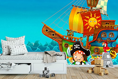 Fotomural para pared diseño barco pirata.