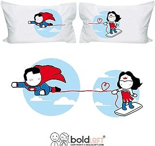 BoldLoft Made for Loving You Couples Pillowcases-Superman Gifts for Men, for Boyfriend, Husband Gifts, Couple Gifts, His and Hers Gifts, Superhero Gifts for Men, Wonder Woman Gift