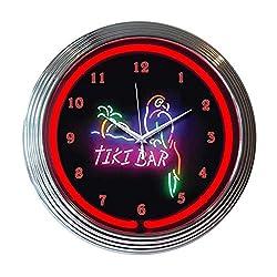 Neonetics Home Indoor Restaurant Kitchen Decorative Tiki Bar Neon Wall Clock