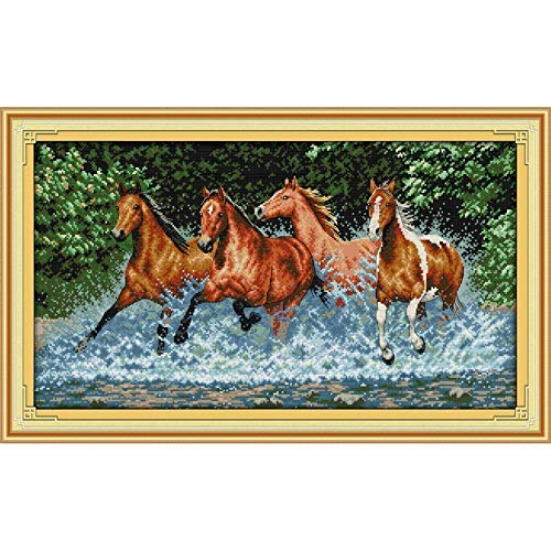 LY88 Kerst Paarden Kruis Stitch Kits Ecologisch Katoen Gekleurd Gestempeld 11 14 CT