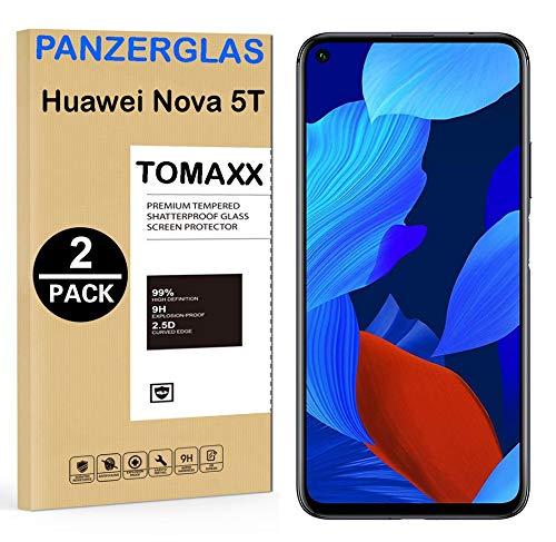 2X Panzerglas für Huawei Nova 5T Glass Panzerfolie Glas Schutzfolie Glasfolie Displayschutzfolie passt für Huawei Nova 5T