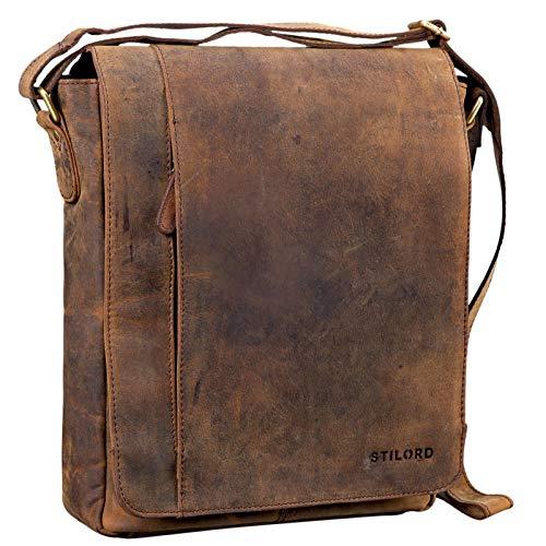 STILORD 'Paul' Umhängetasche Herren Leder Hochformat Messenger Bag im Vintage Design Ledertasche für 13,3 Zoll MacBook iPad DIN A4 Herrentasche Echtleder, Farbe:Colorado - braun