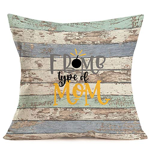 Fukeen Vintage Wood Background Throw Pillow Cases Funny Quotes Cushion Cover Best Gifts for Mother'sDay Home Couch Decor Cotton Linen Pillow Protectors Standard 18x18 Inch (Bomb Type of Mom)