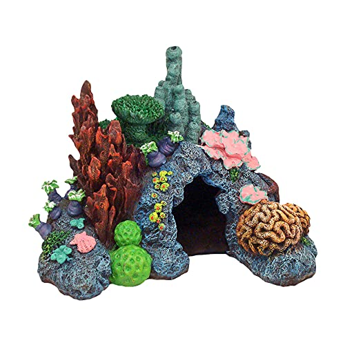 Exotic Environments Caribbean Living Reef Aquarium Ornament, Mini , 4-Inch by 3-1/2-Inch by 3-1/2-Inch