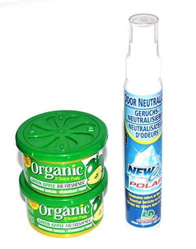 L&D 2 + 1 Duft Trio. 2 x Organic Scent Duftdose Apfel + 1 Raum- Bad, WC Deo Raumspray Lufterfrischer