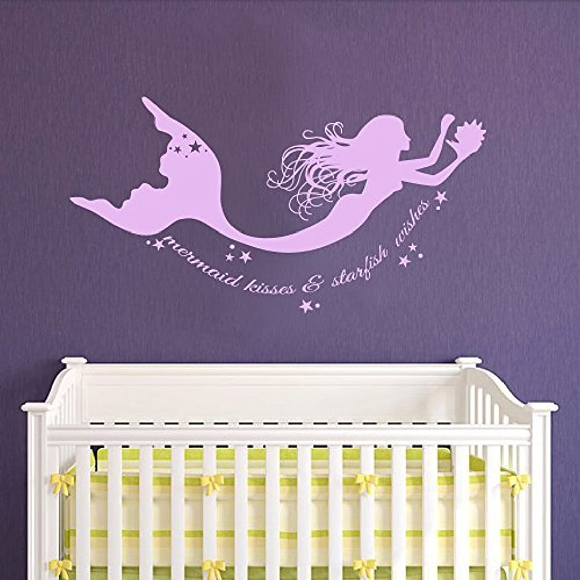 Wall Decal Decor Mermaid Wall Decals Quote Mermaid Kisses & Starfish Wishes Vinyl Decal Sticker Baby Girl Nursery Room Bedding Decor(hydrangea purple, 11.5