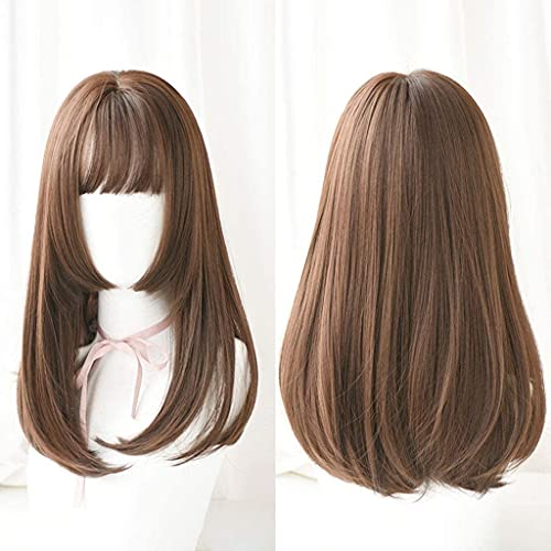 HTDYLHH Pelucas hermosas, largas y rectas de encaje frontal, pelucas naturales y suaves, sintéticas con flequillo (color : G) para fiestas de cosplay uso diario (color: G)