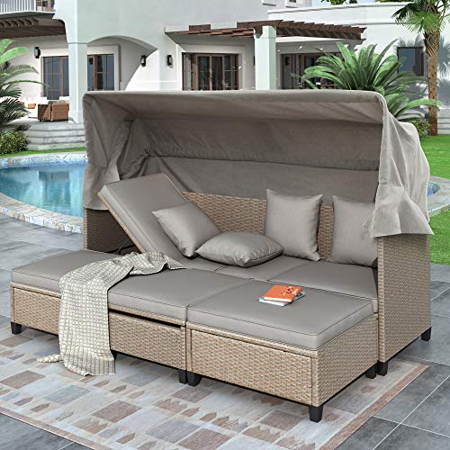 Merax 4 Piece Outdoor Sectional Sofa Set Patio Rattan Daybed with Retractable Canopy, UV-Proof Resin Wicker Patio Sofa Set with Cushions, Pillows, and Lifting Table