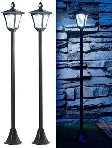 Royal Gardineer Gartenleuchte: 2er-Set Solar-LED-Gartenlaterne, PIR-/Dämmerungssensor, 100 lm, 160 cm (Lampe mit Bewegungsmelder)