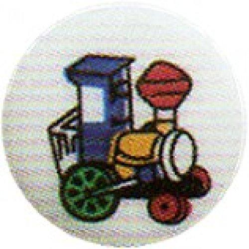 Ourlet rond Motif boutons avec Image-Train - 15 mm-Lot de 4