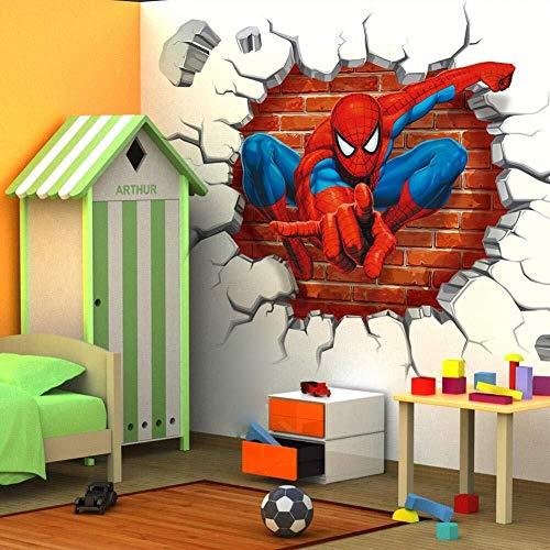 Sticker Muraux Mur 3D autocollant autocollants Spiderman Papiers peints Super Héros Avengers 4 Fond d'écran Peinture décorative Affiche du film amovible mur auto-adhésif Chambre Enfants Décor 45 × 50