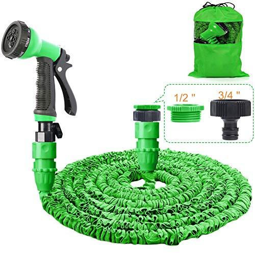 HOMOZE Garden Hose Pipe 100FT Garden Hose Expanding Flexible Magic Hosepipes With 8 Function Watering Gun/Storage Bag/ Tap Connectors