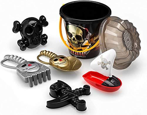 Top Race Juego de 6 cubos de playa para rastrillo, pala para barco/barco, espada y espada, diseño de piratas, con moldes y juguetes empaquetados en cubos grandes de 17,78 cm, color negro