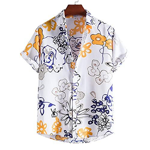 SSBZYES Camisas para Hombre Camisas De Verano De Manga Corta Camisas De Flores Tops para Hombre Camisetas Verano Tallas Grandes con Solapa Negra Camisas Ajustadas para Hombres