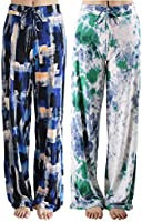 Buttery Soft Pajama Pants for Women – Floral Print Drawstring Casual Palazzo Lounge Pants Wide Leg for All Seasons