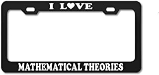 Product Express I Love Mathematical Theories Studying Black Engraving License Plate Frame