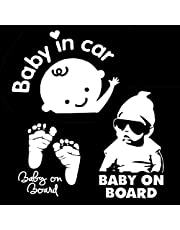 (Pauqete de 3) Bebé En Coche (Baby On Board, Baby In Car) Coche Auto Calcomanía Adhesivos Pegatinas Blanco