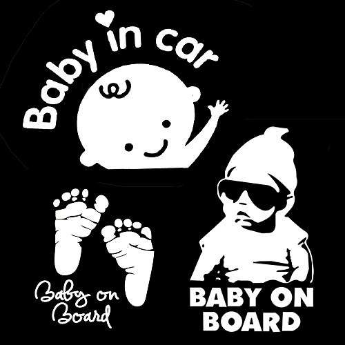 TownStix [3-in-1] Baby on Board, Baby in Car, Footprint, Window Decal Stickers