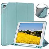 TKOOFN New iPad 2017/2018 9.7 Inch/iPad Pro 9.7/iPad Air/iPad Air 2 Case with Pencil Holder,Soft TPU Trifold Stand with Auto Sleep/Wake,for iPad 5/6 Gen,Blue
