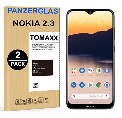 tomaxx 2X Panzerglas für Nokia 2.3 Dual SIM Panzerglas, Schutzfolie 9H Hartglas HD Glas [Anti-Kratz] Blasenfrei Bildschirmschutzfolie passt für Nokia 2.3 Dual SIM Smartphone