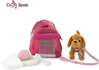 Emily Rose 18-inch Doll Accessories | Doll Puppy Set | Brown Dog with Pet Carrier with Dog Bed, Toy Ball and Play Bone | Fits American Girl Dolls