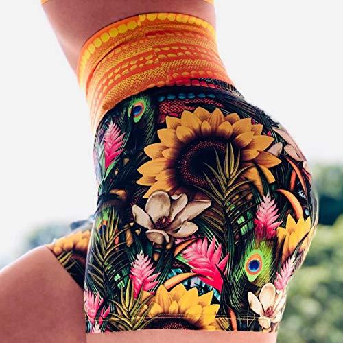 Pantalones Cortos De Mujer - Moda Verano Damas Pantalones Cortos Medias Cintura Alta Push-Up Yoga Pantalones A Tope Impresión Sin Costuras Pantalones Cortos Para Correr Estiramiento Ocio Fitness Al