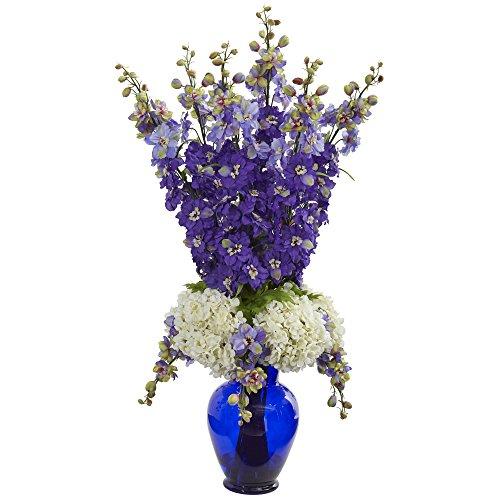 Nearly Natural Delphinium and Hydrangea Artificial Blue Vase Silk Arrangements, Purple Silk Flower Arrangements