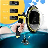 AFAITH Dome Port für GoPro Kamera Zubehör, Unterwasser 6' GoPro Dome port Abdeckkoffer mit wasserdichtem Deckel Case + Floating Bobber Handle + Trigger für GoPro Hero 6 Hero 5 Hero 7 Black TM051