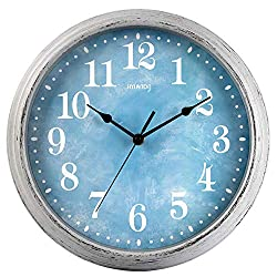 HYLANDA Wall Clock, 12 Inch Retro Quartz Silent Non Ticking Clock, Vintage Round Wall Clocks Battery Operated, Decorative for Kitchen Living Room Home School Office(Ocean Blue)