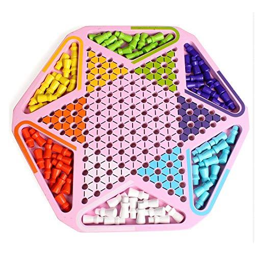 Zeyujie Hexagonal Checkers Children's Educational de madera para adultos juego Padre-niño Interactivo Adulto Adulto Juguetes de ajedrez de alta gama, conjunto de juegos para niños Juguetes de madera p