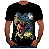 Giulot Men's Animal Print T-Shirt Short Sleeve Crewneck 3D Dinosaur Tee Tops Running Casual Shirts Novelty Undershirts Black