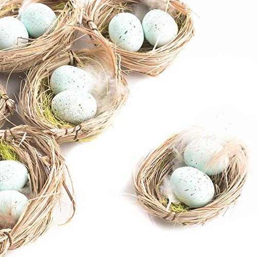 Package of 6 Light Blue Artificial Egg Filled Bird Nests for Wedding Favors, Party Favors or Baby Showers