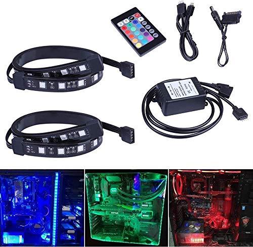 Ubanner 2 kit completi di strisce LED SMD 5050 SMD 1850 LED da 30 cm, telecomando con 24 pulsanti per custodia mid-tower per PC desktop