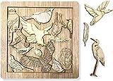 鳥の恋人のジグソーパズルの不規則な形のジグソーパズル?ジェスチャーセンサーのツイストカー?16個の木製アートパズル鳥のレベル10の難易度10難い迷路教育玩具