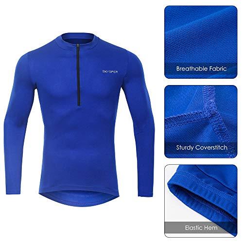 SKYSPER Radtrikot Herren Fahrradbekleidung Blaue Langarmjacke MTB Mountain für den Herbst Bequem Atmungsaktiv für Outdoor-Sportarten Fahrrad - 5