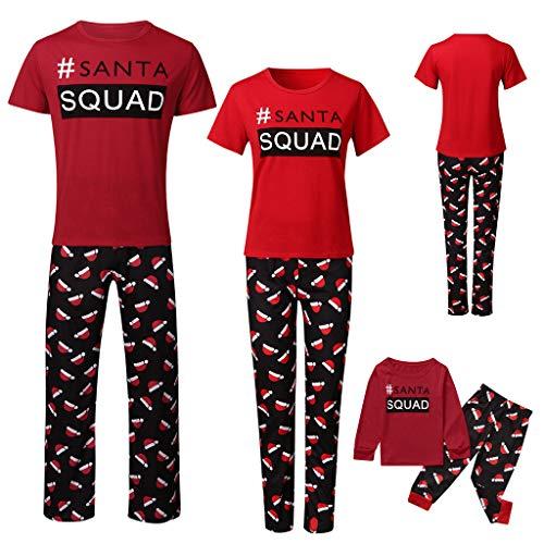 Pijamas Familiares Traje de Navidad, Gusspower Conjunto de Ropa de Dormir algodón Camisetas de Manga Corta con Impresión de Cartas y Pantalones Estampado de Sombrero de Navidad para papá mamá Niños