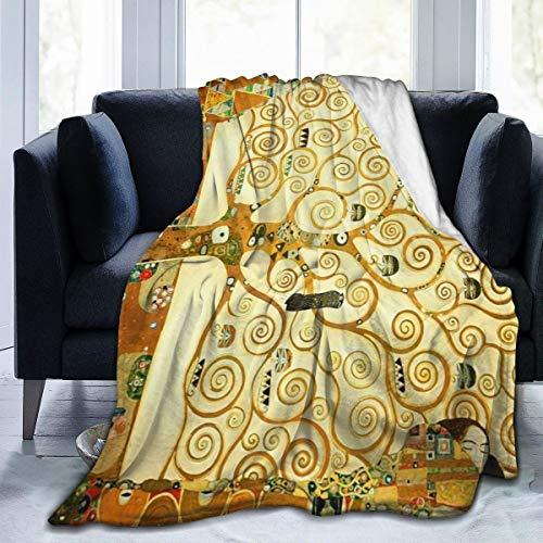 HomeLEE Manta de Forro Polar acogedora, cálida Supersuave, Regalo de Cuidado para niños y Adultos, 152 cm x 127 cm, el árbol de la Vida Gustav Klimt