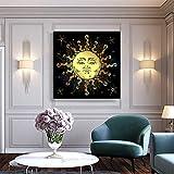 hetingyue Antike Goldgold-Sonnenplakat im antiken Stil und Leinwandmalerei im Boho-Chic-Design-Modewandkünstler-Hauptdekoration rahmenloses Gemälde 40x40cm
