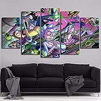 EIGYU 5 Lienzo artePersonajes de Dibujos Animados de Rick y Mortycuadros en lienzoartwork decoración deartísticos para Interiores-No Frame-110x60Cm