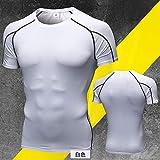 Cxypeng Short Sleeves Compression T-Shirt Tee,T-Shirt de Yoga à Manches Courtes, Combinaison de Compression ajustée à séchage Rapide-White_S,Maillot Compression Homme T-Shirt