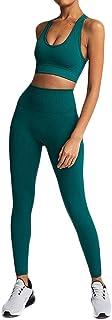 Leggings da donna, 2 pezzi, per yoga, fitness, reggiseno senza cuciture, per jogging, palestra, sport