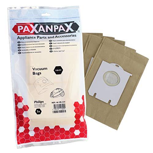 Paxanpax VB459 - Bolsas de Papel compatibles Philips Expression, Mobilo, Serie Sydney (Paquete de 5)