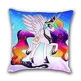 CoolChange Einhorn Kissenbezug 50x50cm für Dekokissen, Motiv: Einhorn Regenbogen
