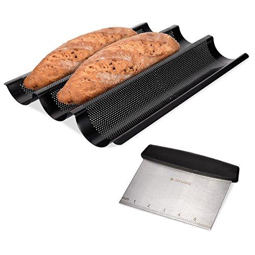 Navaris Molde para Hacer Baguette con espátula - Molde de Acero Inoxidable para baguettes - Set de 1x Bandeja para Pan con 1x raspador