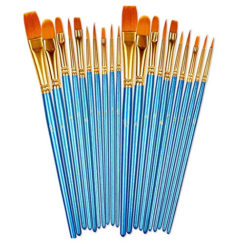 Acrylic Paint Brush Set,20 pcs Nylon Hair Brushes for Oil Watercolor Painting Artist Professional Kits